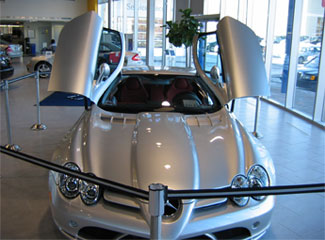 Belt-top Stanchions Used In Car Showroom